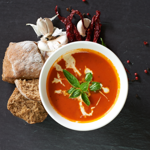 Red Tomato Soup with Buckweat Bread